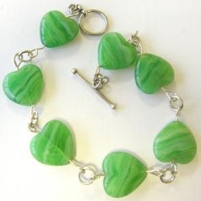 Heart  Silver Bracelet Green Beads