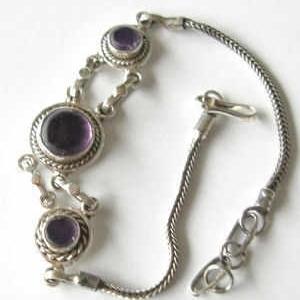 Amethyst stone Silver Chain Bracelet