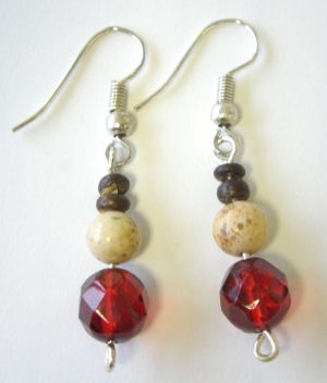 Bead silver earrings with red & beige beads