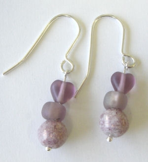 Lilac Pink heart Silver Earrings