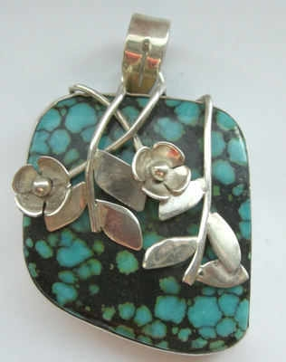 Blue turquoise silver flower pendant