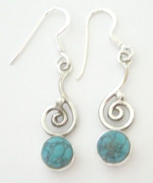 Turquoise blue stone silver earrings