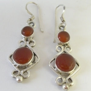 Carnelian patterned silver earrings