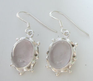 Moonstone fancy silver earrings