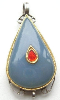 Blue Chalcedony & Ruby Silver Pendant