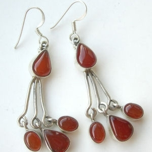 Carnelian four  stone silver earrings