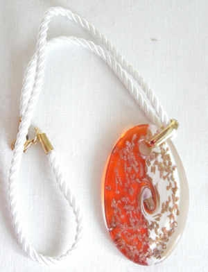 Orange Red Gold Murano glass pendant with gold