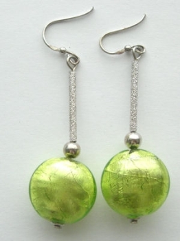 Green Murano glass bead silver earrings