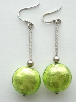 Green Murano glass bead silver earrings