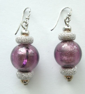 Lilac murano silver foil glass bead earrings with silver