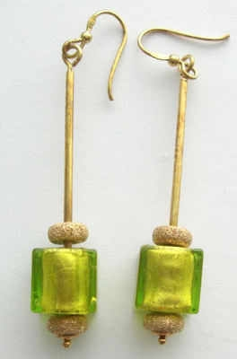 Green lampwork Murano glass cube bead earrings