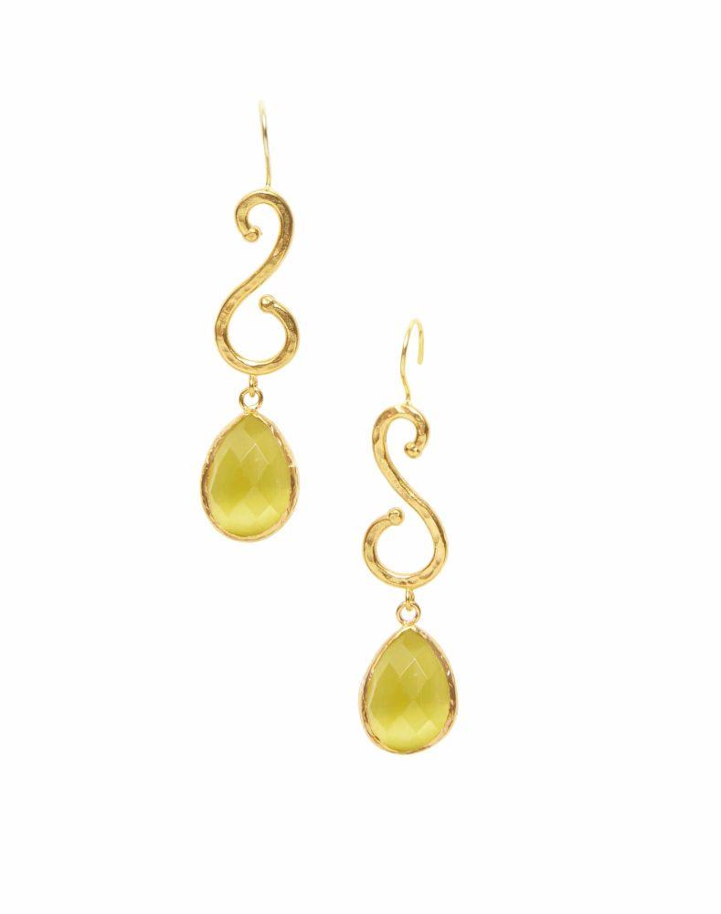 Yellow Cats Eye Earrings - Ottoman Hands (OH/E217R)