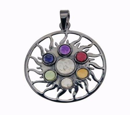 Chakra 7 Stone Sun Silver Pendant (16436)