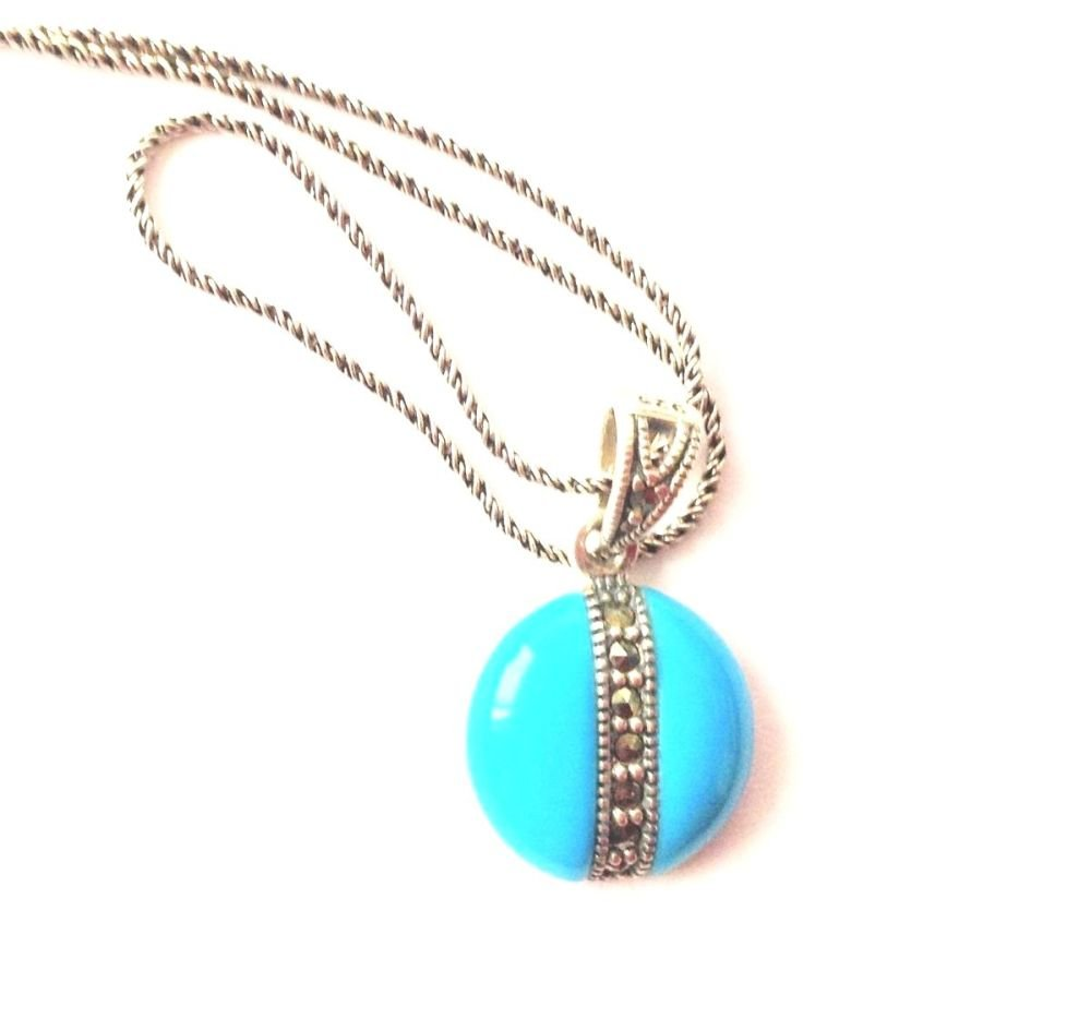 Turquoise silver Necklace - Persian