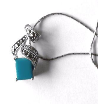 Turquoise Silver Necklace - Square