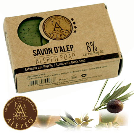 <!--030-->Aleppo Nigella Soap 8% Bay Laurel 100g - Najel (020)