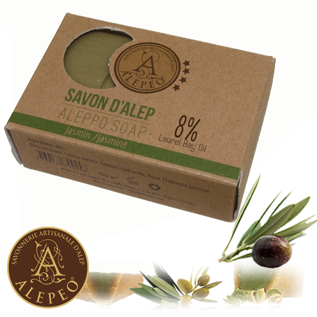 <!--030-->Aleppo Jasmin Soap 8% Bay Laurel 100g - Najel (020)