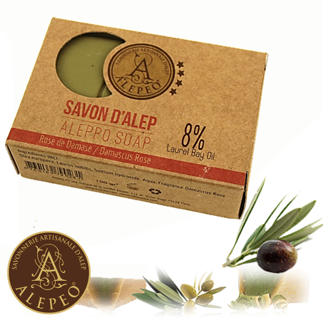 <!--030-->Aleppo Damascus Rose Soap 8% Bay Laurel 100g - Najel (020)