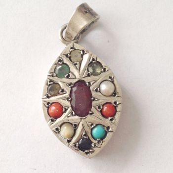 Silver Chakra pendant multi stones