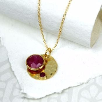 Silver Gold Plated Disc Ruby Necklace