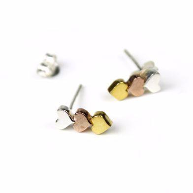 Silver,Gold,Rose Gold Triple Heart Earrings