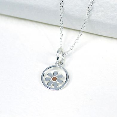 Silver And Rose Gold Daisy Circle Necklace