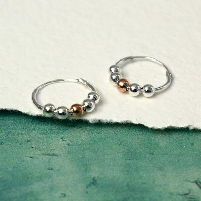 Silver & rose gold Hoop Earrings