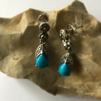 Turquoise silver earrings Iranian