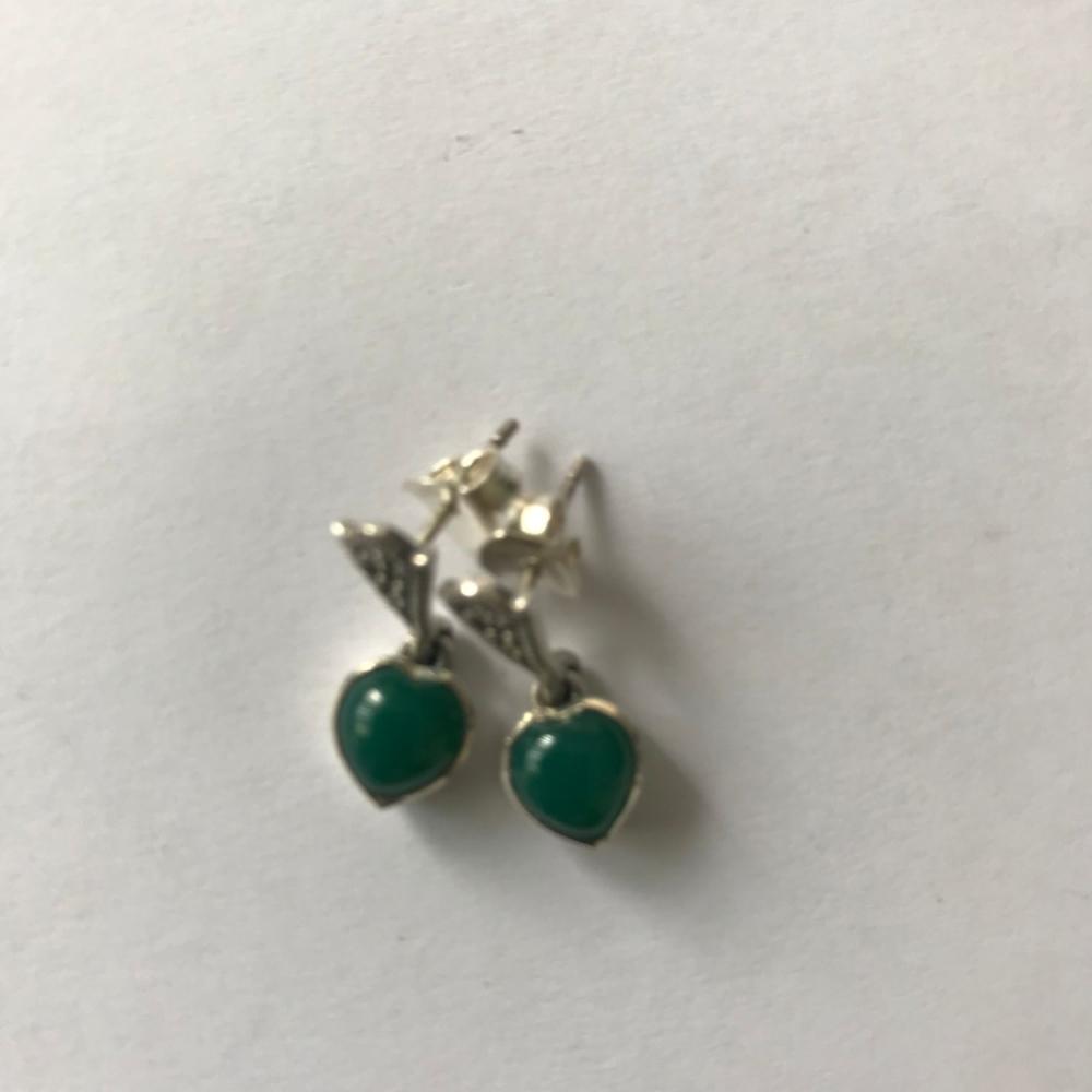 Green Agate silver earrings  - Heart