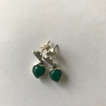Green Agate silver earrings  - Heart