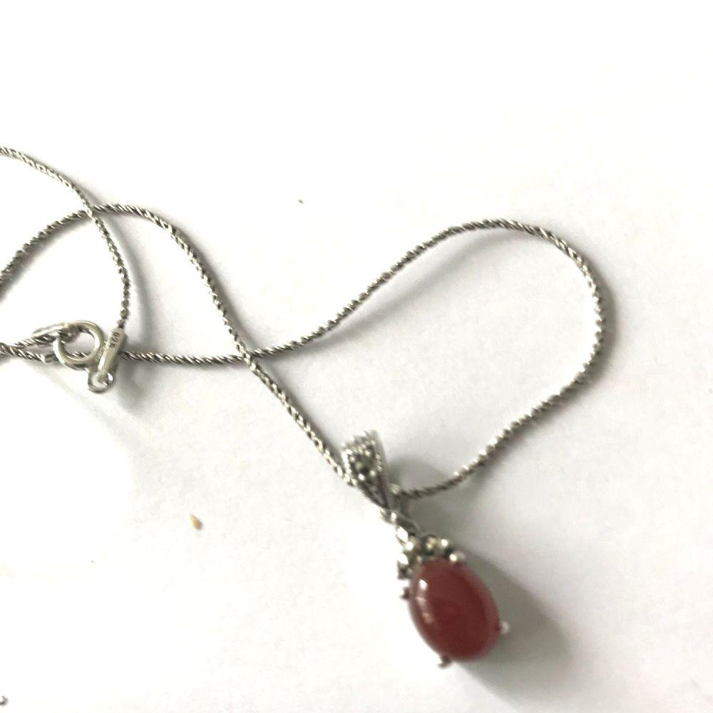 Carnelian Silver Necklace