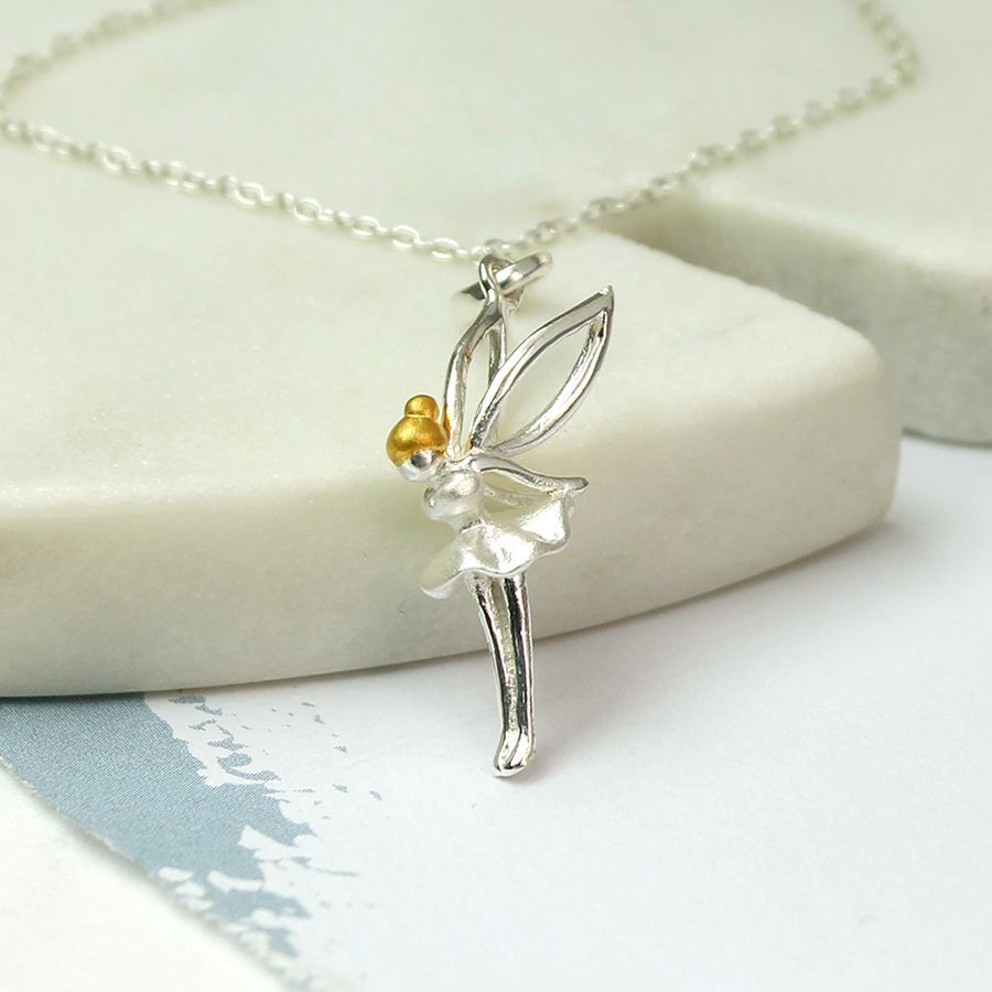 Sterling Silver Gold Plated Fairy Necklace (SB0707)