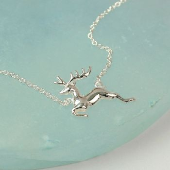 Sterling Silver running stag Necklace (SB0707)