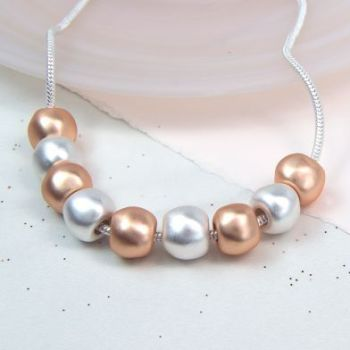 Rose Gold And Silver Large Bead Necklace