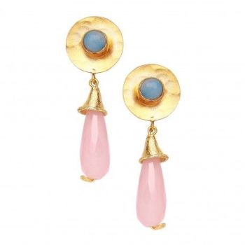 Hammered disc earrings Rose and blue chalcedony