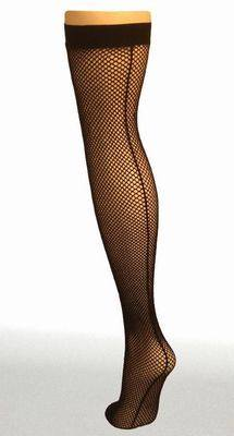 Fishnet Seamed Stockings BLACK - Pamela Mann