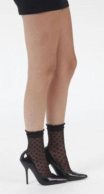 Sheer Ankle Socks BLACK with Hearts - Pamela Mann