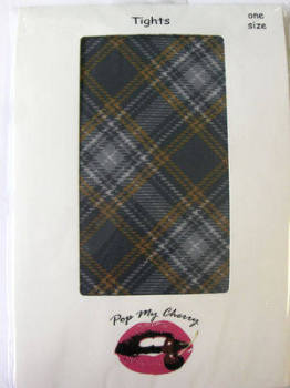 Grey & Yellow Tartan  Tights - Pop My Cherry
