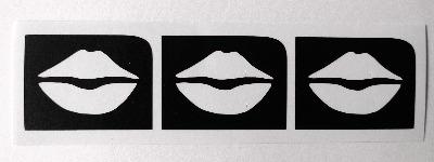 Lips x 3 Temporary Henna Tattoo