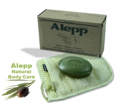 <!--011-->Aleppo Herbal Soap Olive Oil 15% Laurel & Black Onion 125g