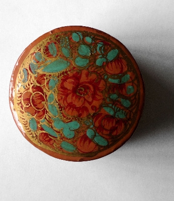 Kashmir Trinket Box round shaped PEACH with Flowers (807)