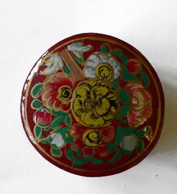 Kashmir Trinket Box round shaped RED with Flowers (808)