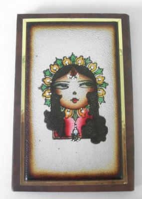 Cosmetic handbag mirror Leat her (PML04)