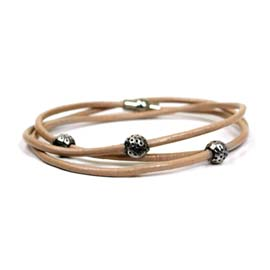 Bracelet - Taupe wrap around leather with beads