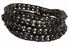 Leather Wrap Bracelet with Gemstone - BLACK (03)