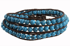Leather Wrap Bracelet with Gemstone - BLUE TURQUOISE (04)