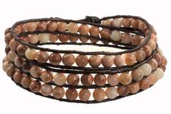 Leather Wrap Bracelet with Gemstone - BROWN / PEACH (05)