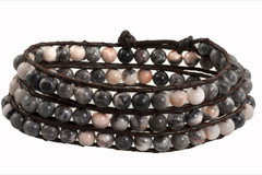 Leather Wrap Bracelet with Gemstone - GREY (06)