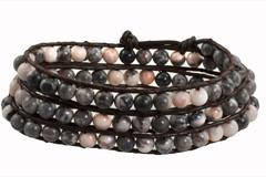 Leather Wrap Bracelet with Gemstone - GREY (06)