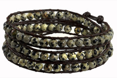 Leather Wrap Bracelet with Gemstone - MARBLE (07)